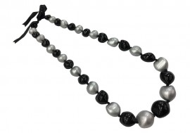 Kukui Nut Necklace - Silver & Black