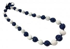 Kukui Nut Necklace - Navy Blue & White
