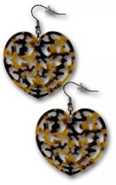 Carved Heartshaped Turtle Shell Earrings