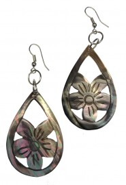 Oval Flower Mother of Pearl Earrings