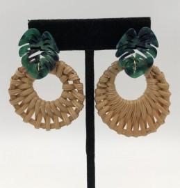 Raffia Earrings with Green Monstera Earrings