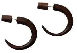 Wood Faux Gauge Earrings