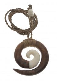 Koa Wood & Bone Circle of Life Necklace