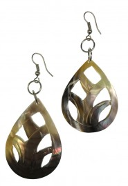 Oval Leaf Mother of Pearl Earrings