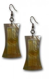 Tahitian Style Gold Mother of Pearl Shell Earrings