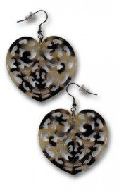 White Carved Heartshaped Turtle Shell Earrings