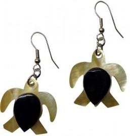 Shell & Horn Turtle Earrings
