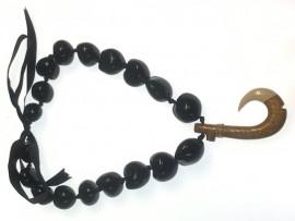 Black Kukui Nut Necklace with Wood/Bone Hook Pendant