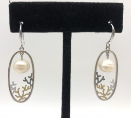 Tri-color Oval and Coral with Freshwater Pearl Earrings