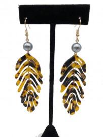 Fuax Turtle Shell Palm Leaf Design Earrings