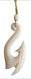 Tribal Carved Bone Hook Necklace