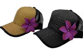 Brown or Black Cap with Purple Flower