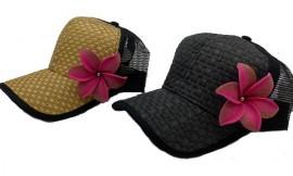 Brown or Black Cap with Pink Flower