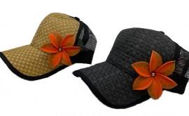 Brown or Black Cap with Orange Flower