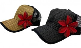 Brown or Black Cap with Red Flower
