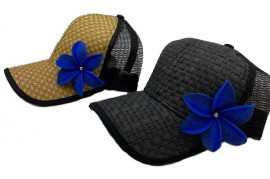 Brown or Black Cap with Blue Flower