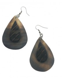 Mother of Pearl Oval Earrings - Black
