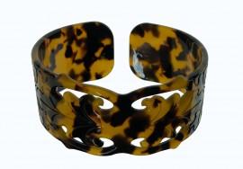 3.5 cm Faux Turtle Shell Cuff Bracelet - Carved Design
