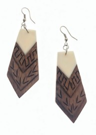 Koa Wood & Bone Earrings