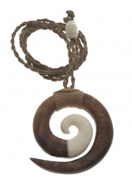 Koa Wood & Bone Circle of Life Necklace
