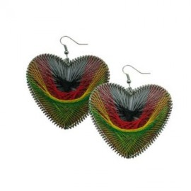 Rasta Dream Catcher Heart Earrings