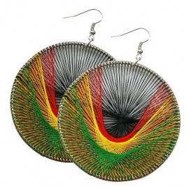 Round Rasta Dream Catcher Earrings