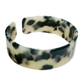 Faux Turtle Shell Bracelet - 2.0cm - White